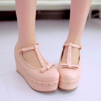shoes kawaii pastel pink platform shoes cute shoes pastel platforms spring kfashion gyaru dolly shoes princess flatforms