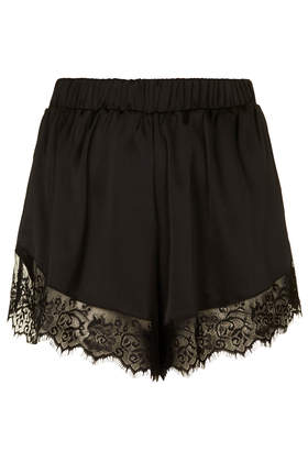 **Satin Shorts with Lace Trim by Oh My Love - New In This Week  - New In  - Topshop Europe
