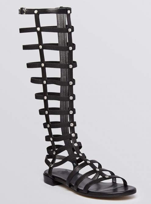 Black Gladiator Flat Summer  Knee High Sandals $159