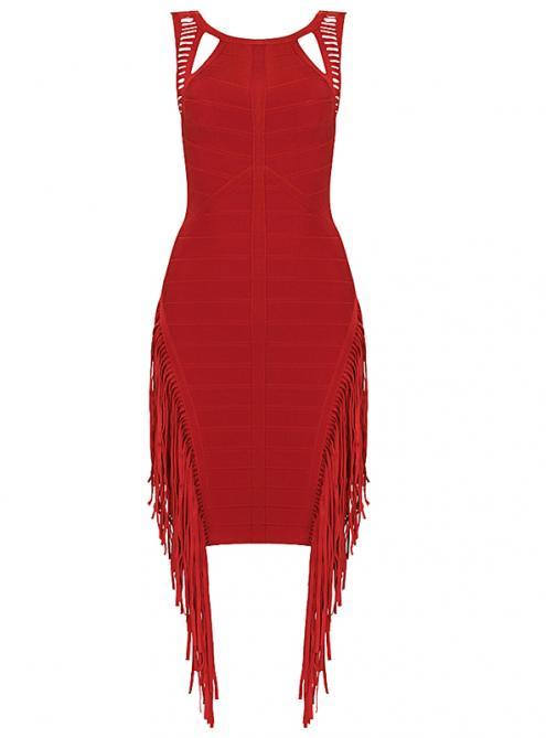 Red Tassel Halter Bandage Dress H359$129