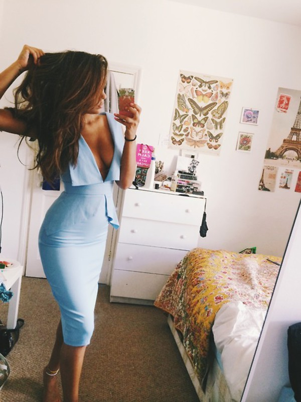 dress sexy peplum dress deep v dress midi light blue low cut crepe
