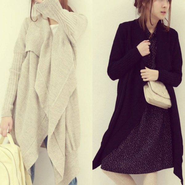 sweater i4out cardigan fashion clothes clothes look lookbook jacket oversized sweater black white oversized cardigan