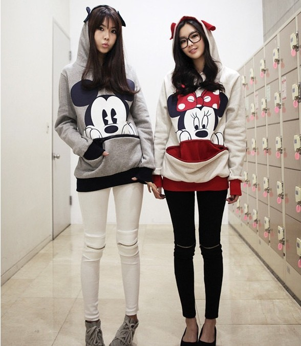 Womens Ladies Girls Mickey Minnie Mouse Ear Hoodie Jumper Top Sweatshirt Jacket | eBay