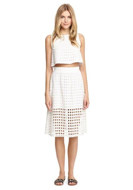skirt white white skirt midi skirt eyelet crop tops