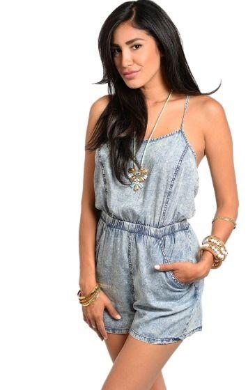Denim Romper with Pockets Women Junior Trendy Cute Shorts Acid Wash Size Medium | eBay