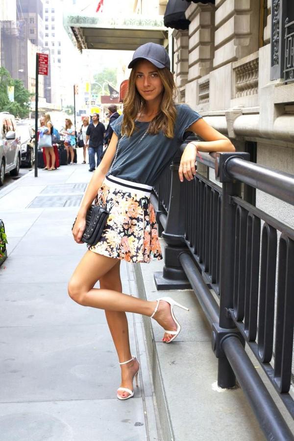 something navy skirt shoes t-shirt hat bag