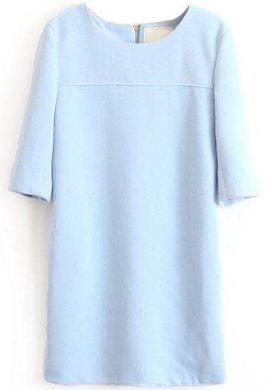 Vestido simple manga media-Azul