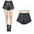 Black Quilting Leather High Waisted Lady PU Faux Leather Punk Mini Shorts Pants | eBay