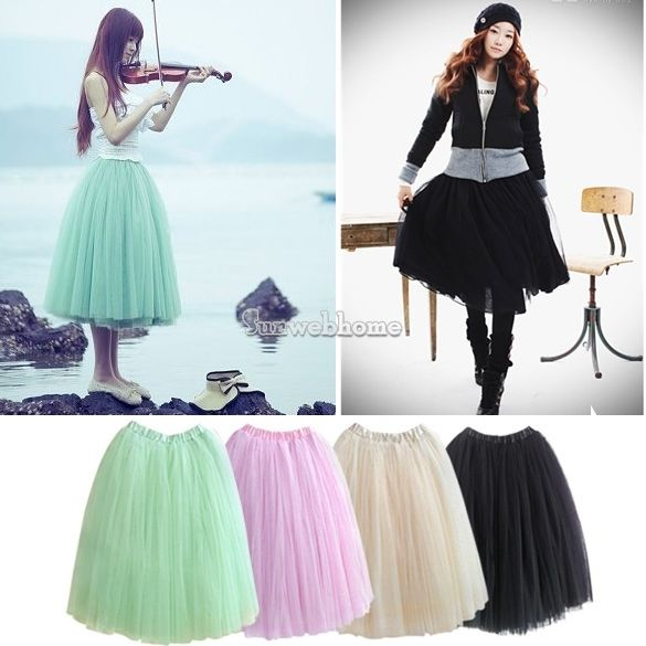 Women Bohemian Pleated Tutu Princess Skirt Petticoat Knee Length Mini Dress | eBay