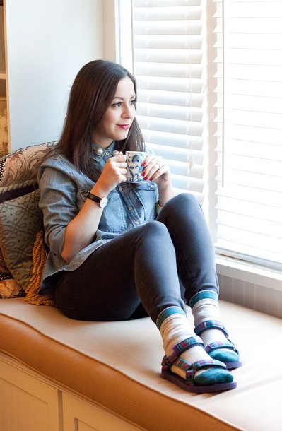 adventures in fashion blogger socks sandals denim shirt socks and sandals