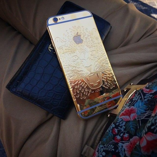 phone cover gold lion pretty