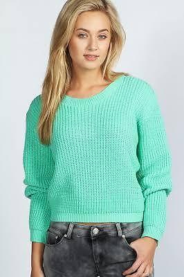 Mint Green Chunky Knit Jumper Boohoo Size s M 8 10 | eBay