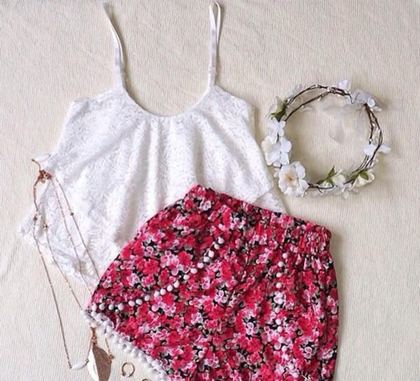shorts floral black summer hat