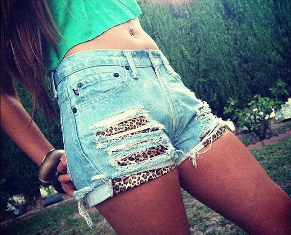 High Waisted and Distressed Shorts Layerd with Leopard Print Front Pockets FREE SHIPPING on Wanelo