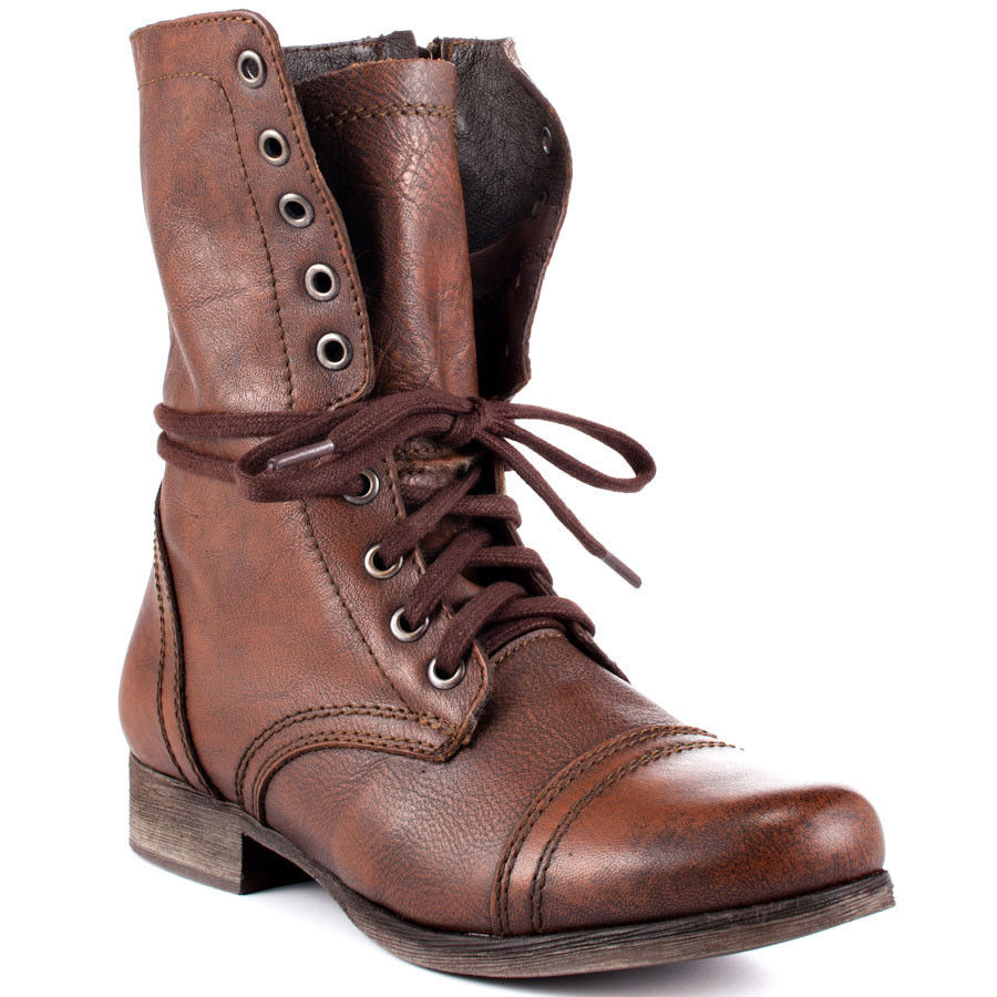 Women's Shoes Steve Madden Troopa Leather Lace Up Combat Boots Brown | eBay