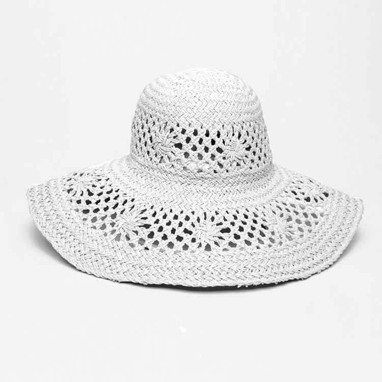 Elegant Woven Wide Brim Hat - White - Cowboy, Fedora, Widebrim Hats - Widebrim Hats - Bondi Beach Bag Co.