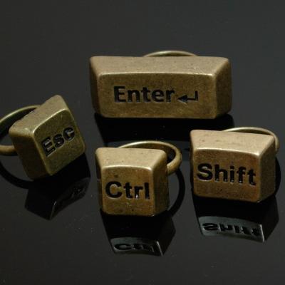 Keyboard ESC Enter Shift Ctrl Rings Vintage Antique Gold Rings Unique Adjustable   eBay