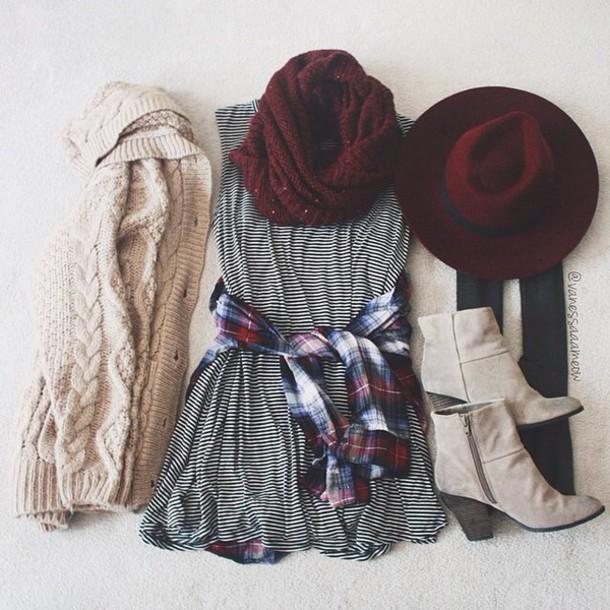 cardigan dress hat shoes