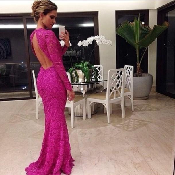 dress backless dress longsleved dress