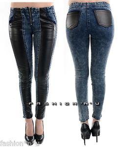 Blue Acid Wash Black Faux Leather Panels Skinny Jean Denim Leggings Jeggings M | eBay