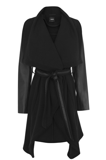 Faux Leather Sleeve Drape Coat   Black   Oasis Stores