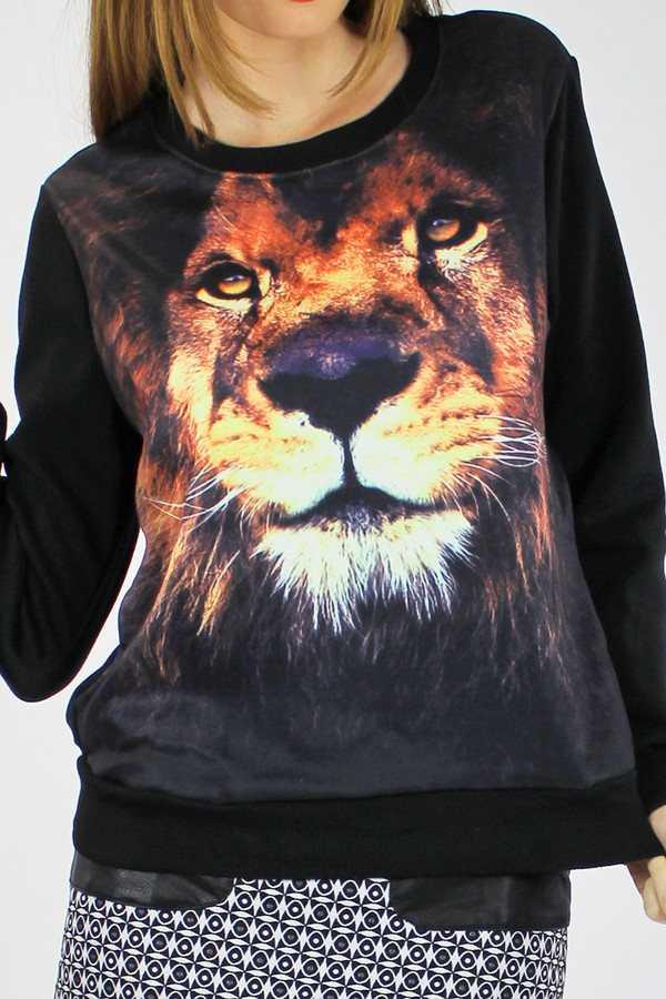 shirt lion animal black clothes animal print animal print top pullover jumper digital print clothes black clothing foxx foe