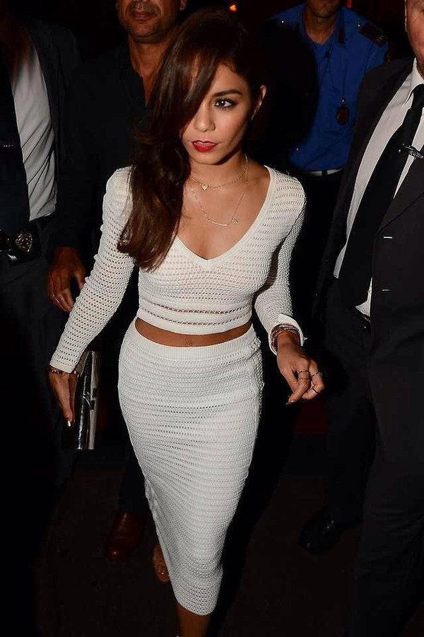 vanessa hudgens white top long sleeves mesh mesh top bodycon bodycon skirt clutch