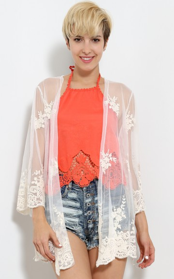 Lacy Grace Fringe Cardi   MakeMeChic.com
