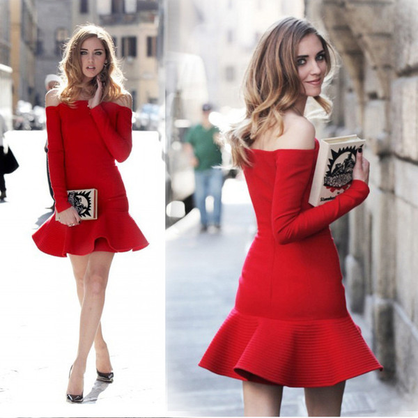 dress red 2014 long sleeves christmas mermaid winter outfits party wedding dress evening dress bandage dress off the shoulder