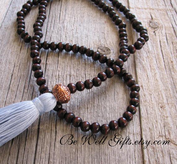108 Bead Mala Meditation Necklace Meditation Beads by BeWellGifts