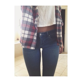 top red blue white checkered flannel shirt