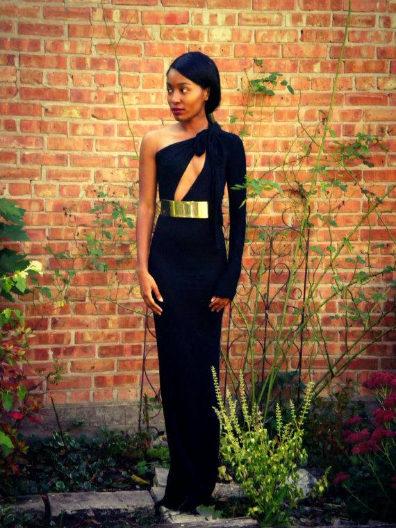 One Shoulder Metal Belt Full Length Gown by alafemme on Etsy