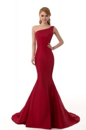 Amazon.com: GEORGE DESIGN Brief Elegant Burgundy Mermaid One-Shoulder Evening Dress: Clothing