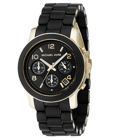 Michael Kors Watch, Women's Chronograph Runway Gold-Tone Stainless Steel and Black Polyurethane Bracelet 38mm MK5191 - Watches - Jewelry & Watches - Macy's