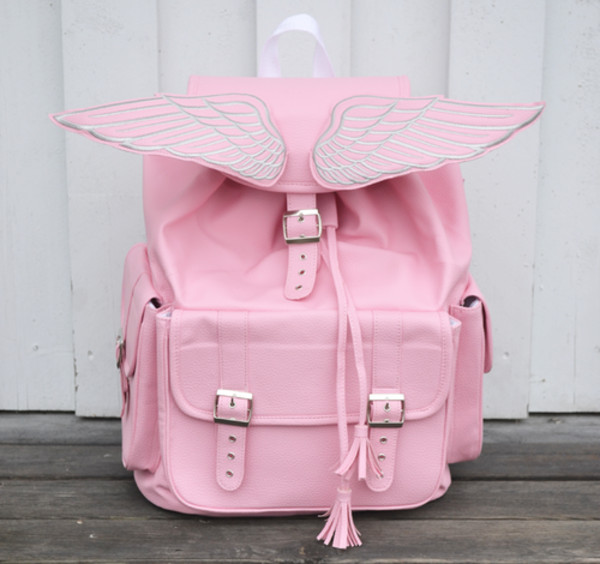 bag pink silver wings baby pink satchel bag