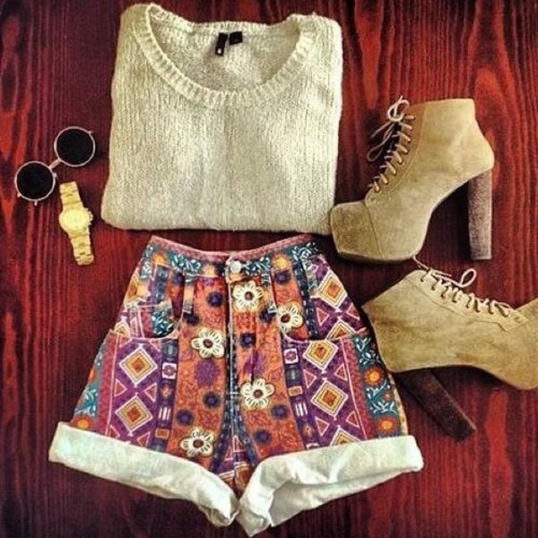 shorts sweater shoes