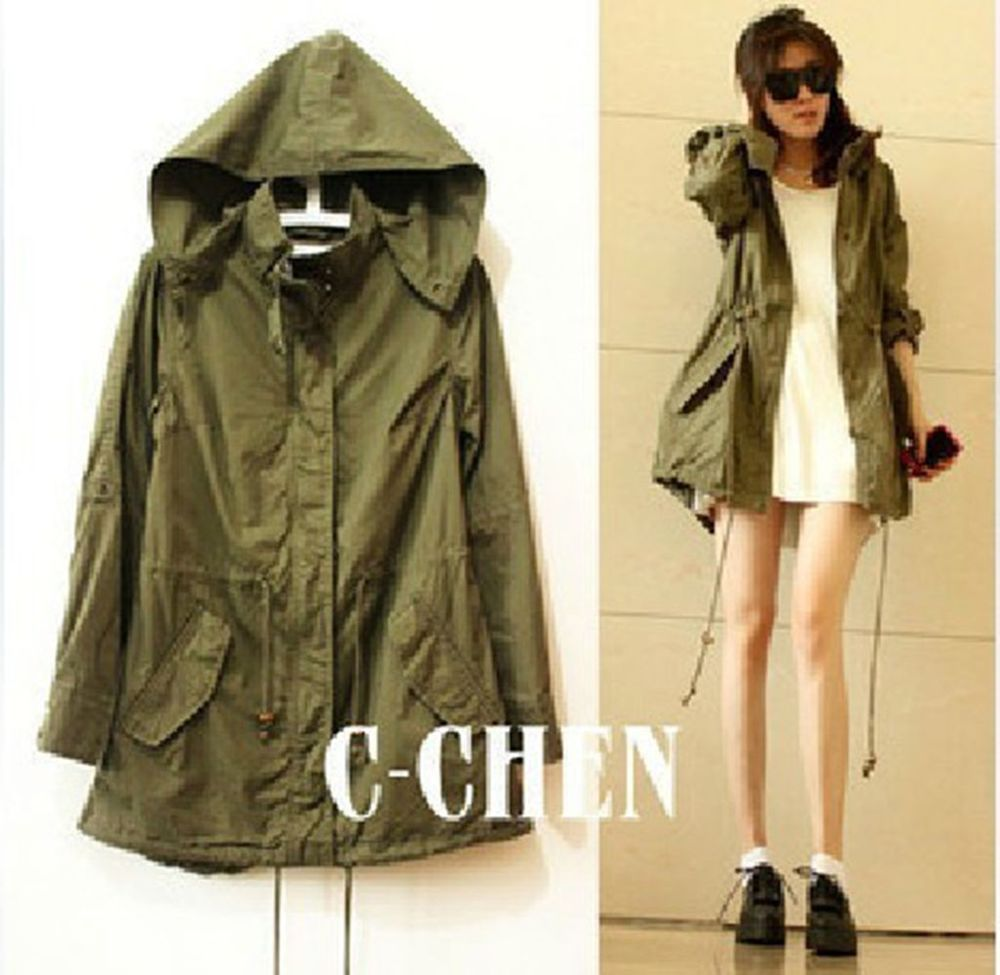 Fashion Women's Army Green Military Parka Button Trench Hooded Coat Jacket s XL | eBay