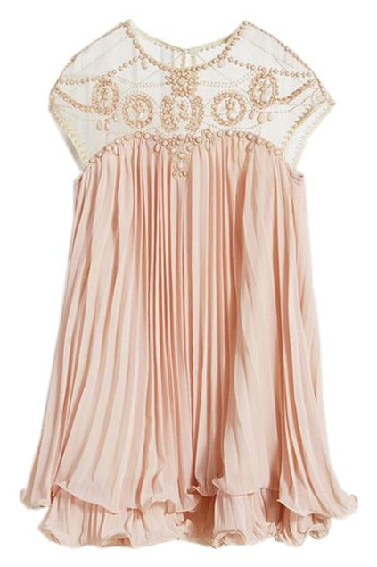 romwe   beaded pleated layered apricot dress, the latest