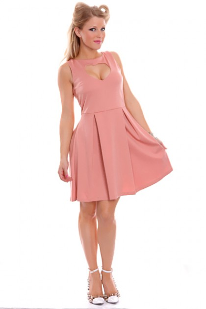 Peach Front Center Cutout Heart Sleeveless Party Dress @ Amiclubwear sexy dresses,sexy dress,prom dress,summer dress,spring dress,prom gowns,teens dresses,sexy party wear,women's cocktail dresses,ball dresses,sun dresses,trendy dresses,sweater dresses,tee