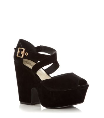 Black Cross Strap Chunky Platform Shoes
