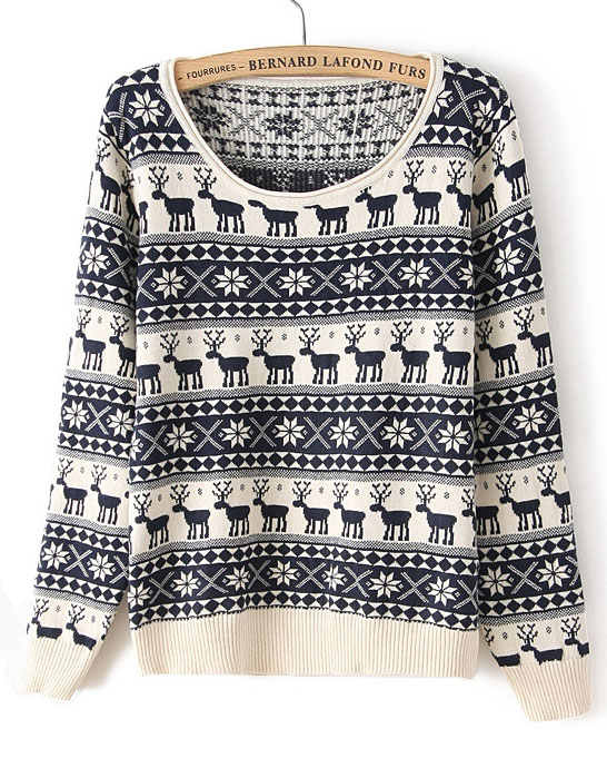 Navy Long Sleeve Deer Pattern Knit Sweater - Sheinside.com