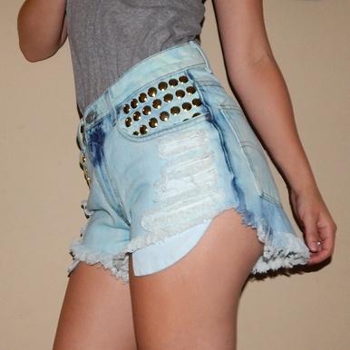 Baby Blue Hipster Studded Shorts - Arad Denim