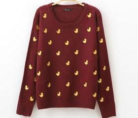 [grxjy560706]Cute Embroidered Yellow Ducks Crewneck Loose Sweater Pullover  on Luulla