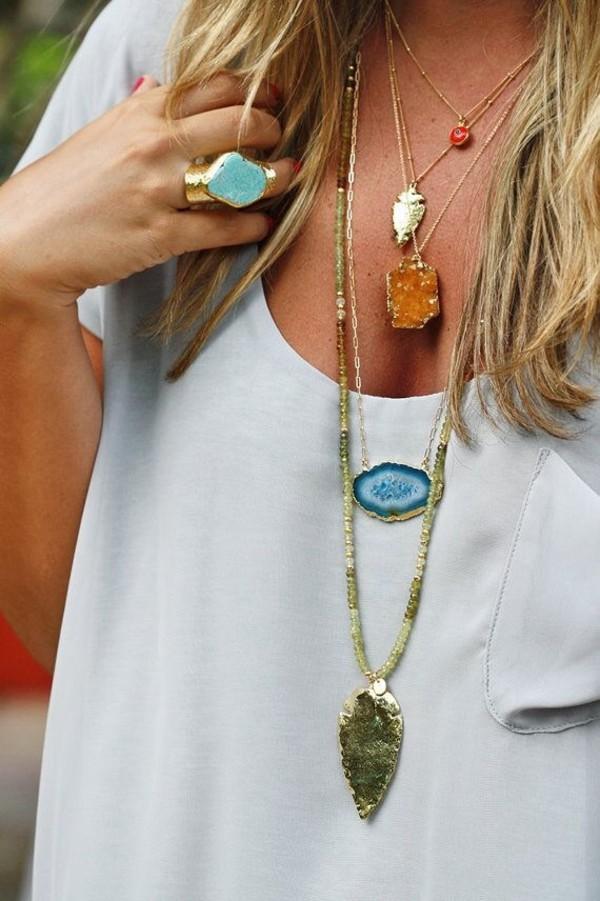 jewels necklace geode rock neckalce gemstone agate geode indie hipster