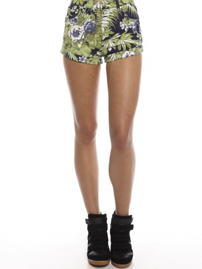 High-Waisted Shorts in Palm Print - Glue Store