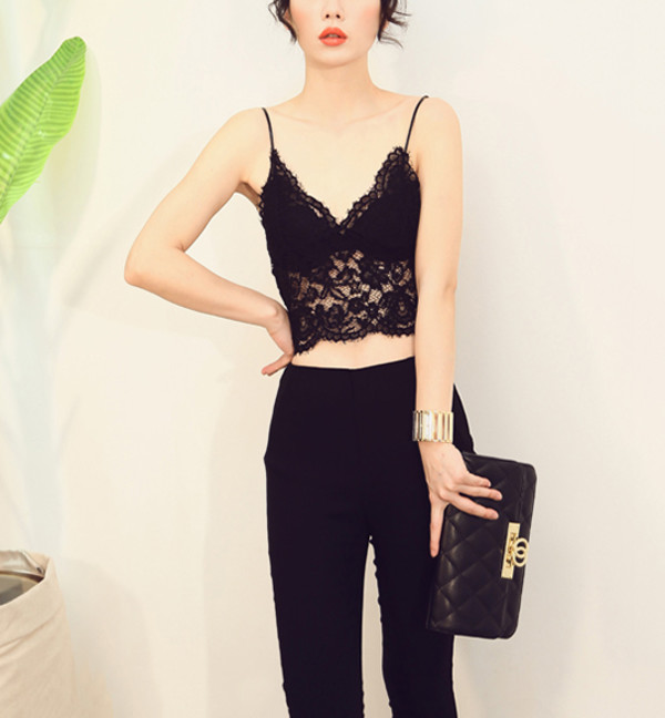 top black elegant stylemoi lace cami streetstyle summer outfits