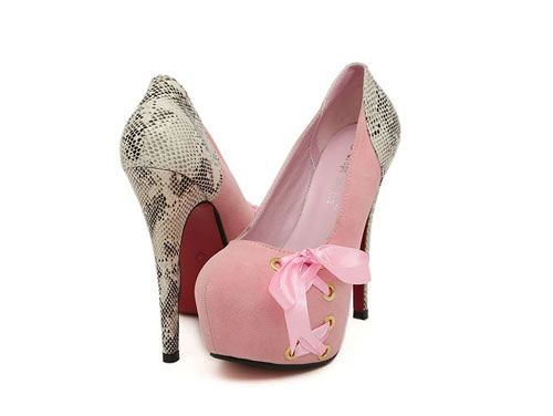 2013 Sexy Sweet Matching Color Snakeskin Platform Heels With Bowtie - DualShine