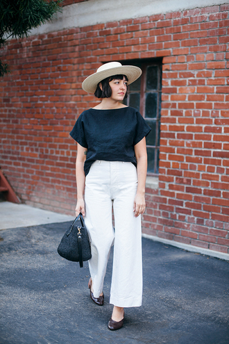 calivintage blogger shirt pants hat bag top skirt shoes white pants black top handbag