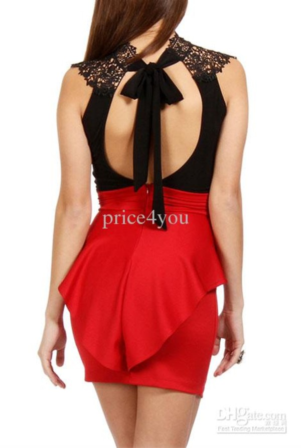 dress red and blabk preplum laced peplum