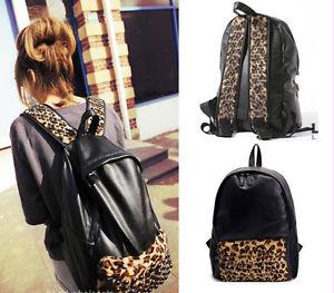 Fashion Shoulder Bag Black PU Leather Leopard Stud Backpack Book School Handbag | eBay